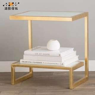 〈滿藝設計傢俬〉934 北歐客廳沙發邊几 角几 小茶几 鐵藝玻璃創意邊桌 卧室簡約床頭櫃方桌