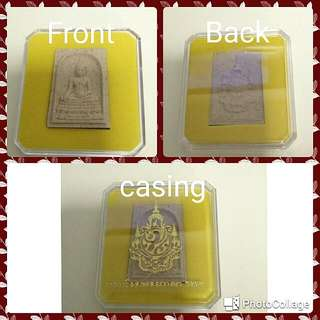 Wat Bowon Buddha Amulet , This Amulet Commemorate King Rama9 Birthday Anniversary, Back Design With Royal Crest