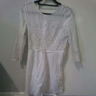 White Crochet Dress-size 6/8
