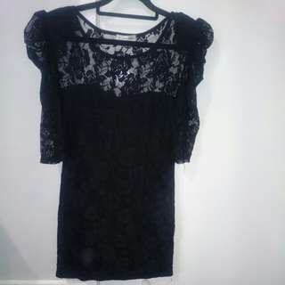 Mike and Gala black lace Bodycon Dress - Size 10