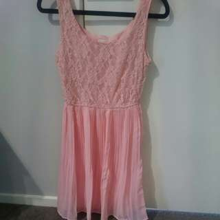 Peach Lace/frill dress- Size 6-8