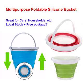 [SALE] Multipurpose Foldable Silicone Bucket 5/10L size/ Car wash Bucket Picnic Fishing Cleaning House