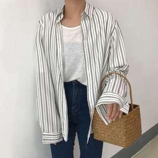條紋 寬鬆 襯衫 外套