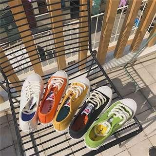 五色 休閒 帆布鞋