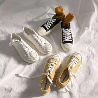 造型 厚底 帆布鞋