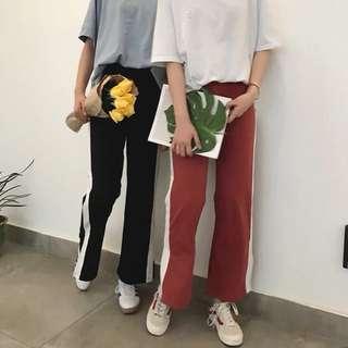 兩色 顯瘦 寬鬆 長褲