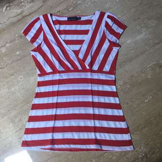 THE LIMITED red stripes top