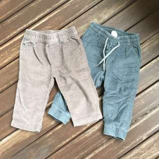 *New* Carter's & H&M corduroy long pants 9M