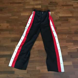 Red and white pants with slits