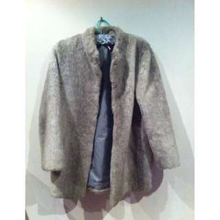 Light Grey Vintage Faux Fur Coat Size 14