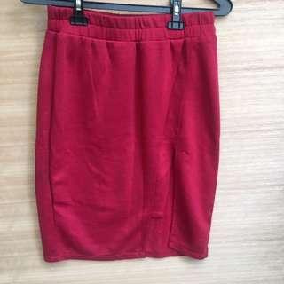 rok merah maroon belah