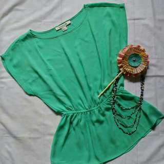 Green peplum top by Forever21