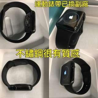 🚚 降價!  保固至明年8月! Apple Watch 42mm黑不鏽鋼配運動錶帶 不銹鋼316L X2N0