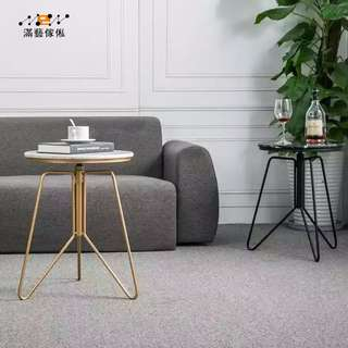 〈滿藝設計傢俬〉935  北歐簡約鐵藝大理石小茶几 金色邊几 客廳沙發角几 創意可升降小圓桌