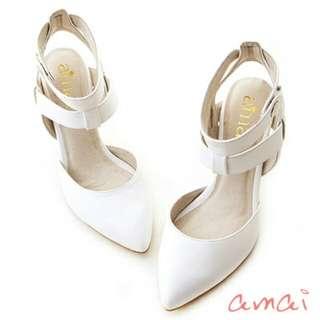 9.9成近全新 美型高跟鞋 裸尖頭繫帶高跟鞋 24半=39號 純白色