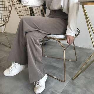 港味復古高腰寬鬆百搭純色西裝褲休閒褲闊腿褲喇叭褲