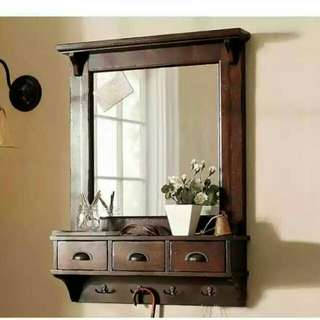 Bombay Brown Wall Mirror With Hooks and Drawers