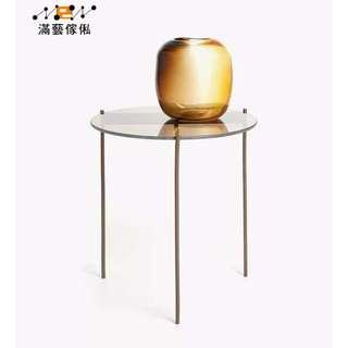 〈滿藝設計傢俬〉938 玻璃和金屬圓形桌 茶几 邊几