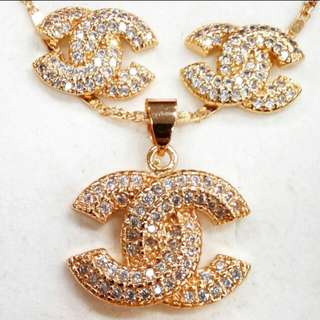 Chanel Studded Earrings Necklace Set