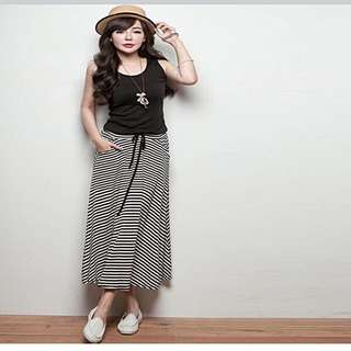 Stripe Combined Cotton Drawstring Dres