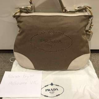 Authentic Prada Canvas Beige Handbag