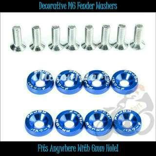 Decorative Blue Fender Washers