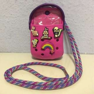 BN Pink Magenta Purple Crocs Handphone Mobile Phone Pouch With Strap And Clip