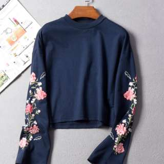 Floral Embroidered Sweater Top