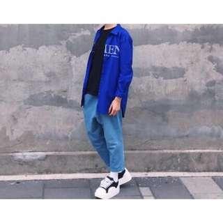 淺藍 淺色 低檔 丹寧 牛仔褲 哈倫褲 寬褲 休閒褲 韓版 八分褲 九分褲 彈性伸縮