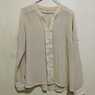 Beige Sheer Blouse with gold buttons (s/m)