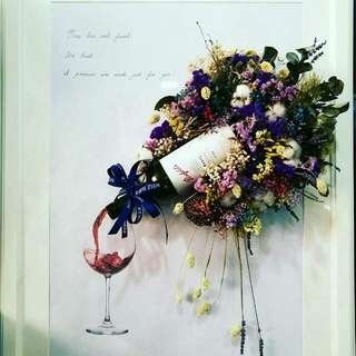 4d wine arrangement with dired flower