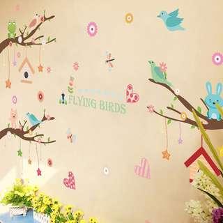 🚚 【 現貨】 壁貼 動物 卡通 兒童房佈置 壁紙 牆貼 壁紙 JB0374《卡通樹動物 XL8245》【 居家城堡】
