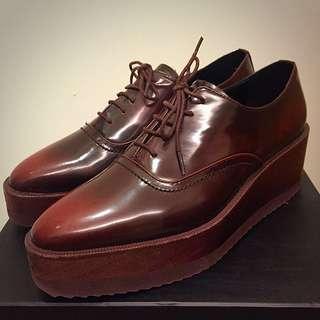 真皮厚底咖啡色牛津鞋