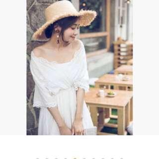 渡假風 鏤空蕾絲 白洋裝 (孕婦寫真、自助婚紗)