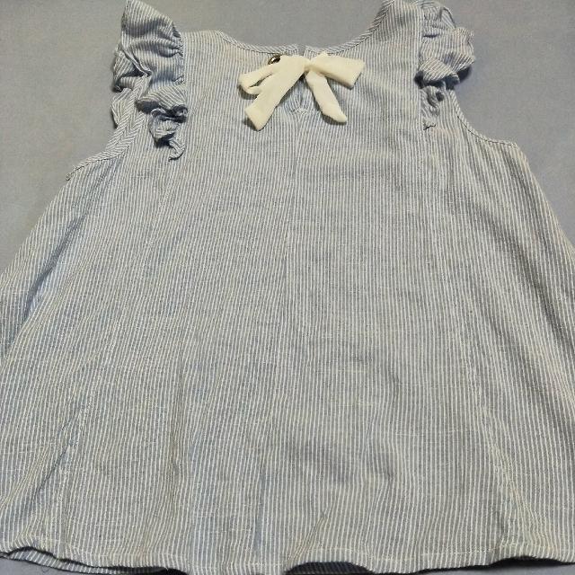 正反兩面穿棉麻無袖上衣,條紋海洋藍