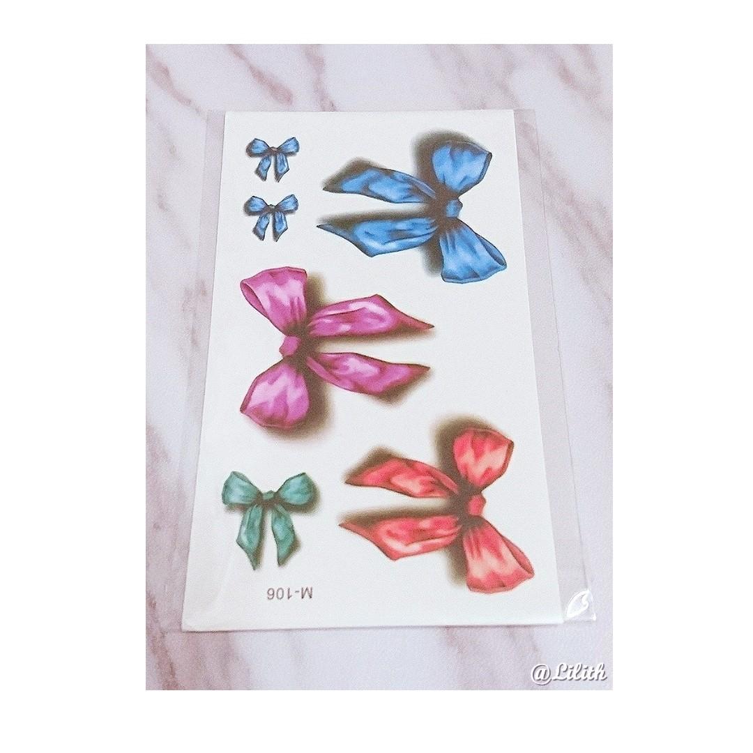 彩色立體蝴蝶結防水持久紋身貼