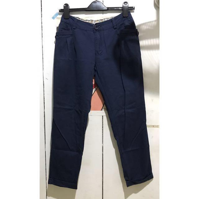 深藍褲口反折中腰休閒褲