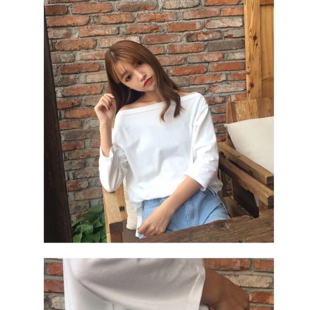 白 韓版一字領顯瘦上衣