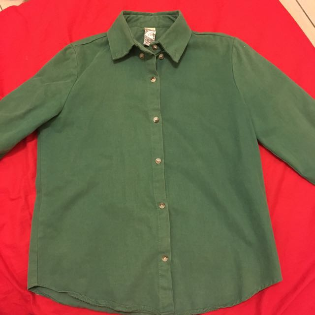 韓製挺版 襯衫 綠