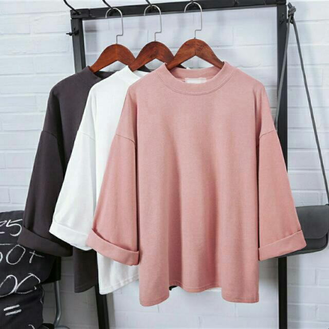 五分袖微立領 前短後長 上衣 粉紅 藕色