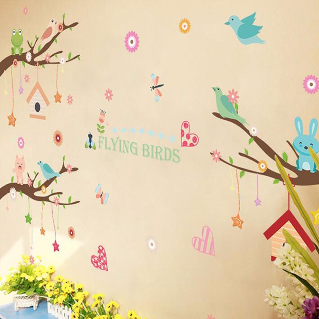 【 現貨】 壁貼 動物 卡通 兒童房佈置 壁紙 牆貼 壁紙 JB0374《卡通樹動物 XL8245》【 居家城堡】