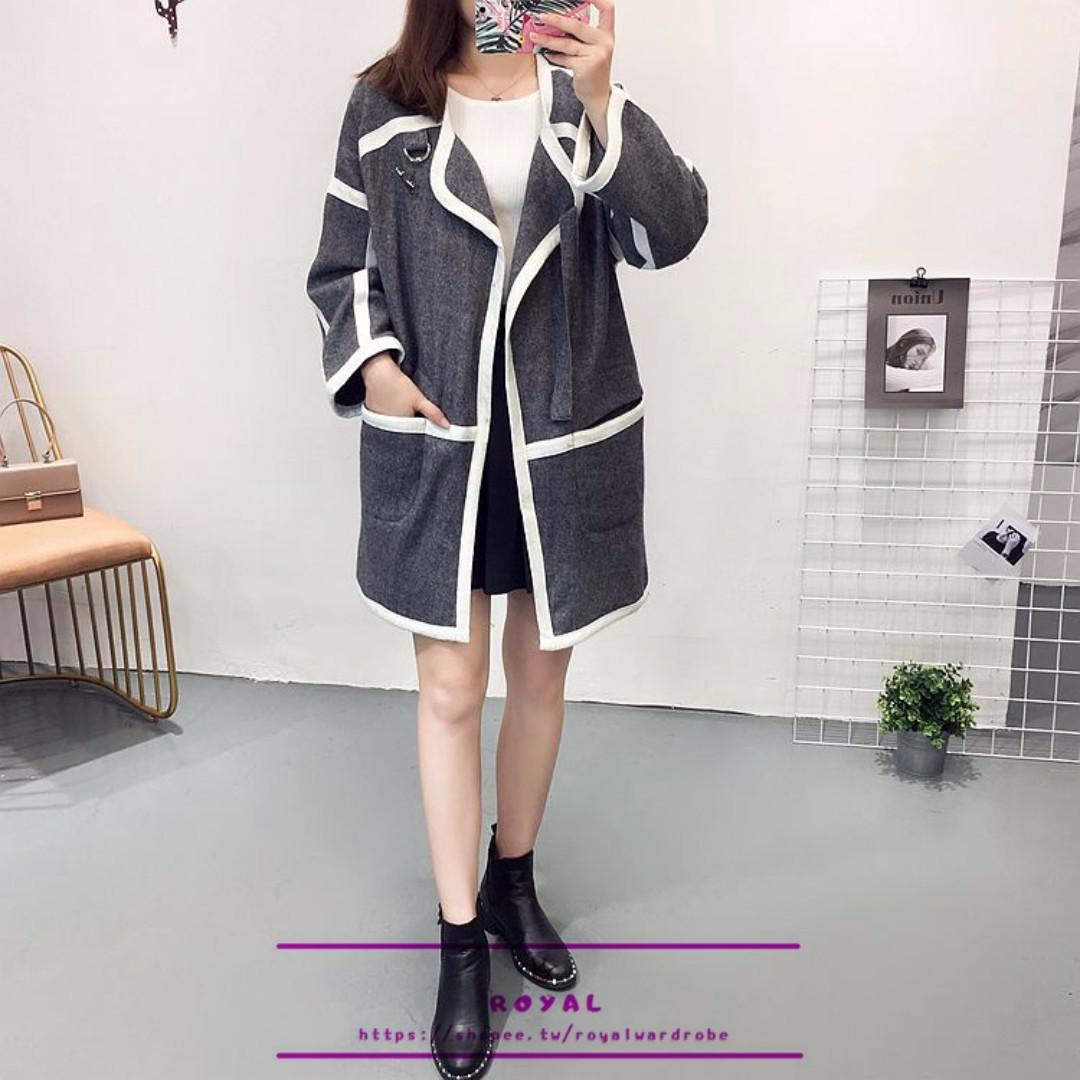 灰色白邊中長版針織外套 M929859