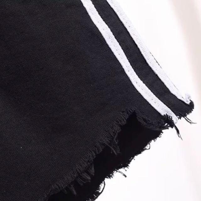 2517200ab9918 🆕🇰🇷 UK12 14 Black Outlined Highwaisted Shorts