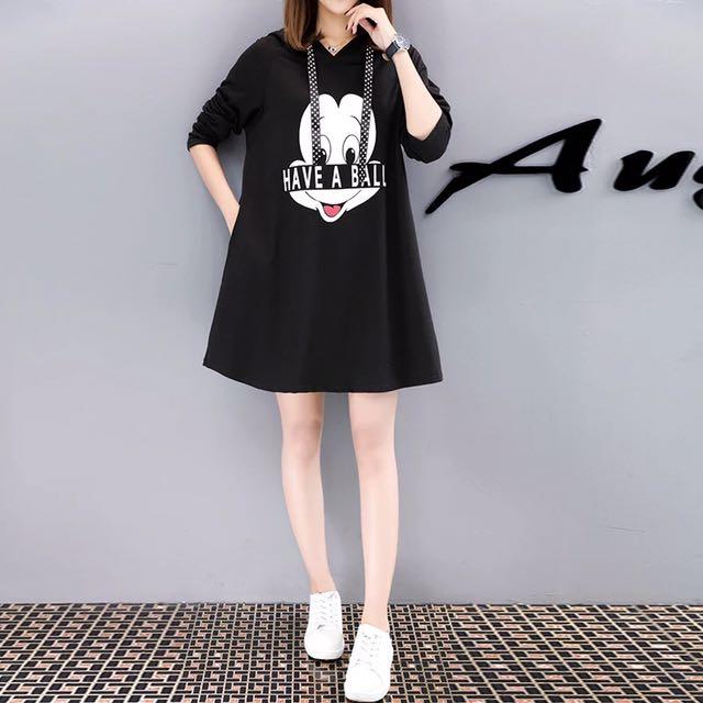 寬鬆卡通A字連衣裙