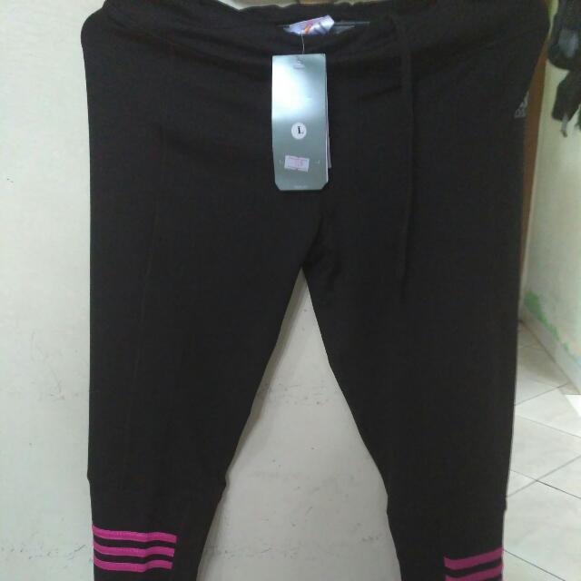 Adidas legging senam warna hitam strip pink