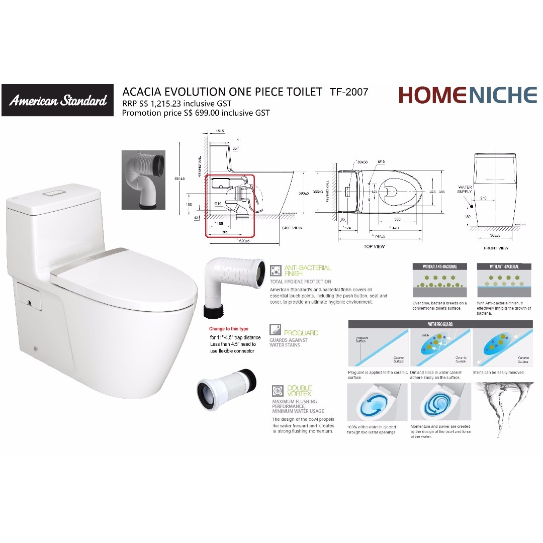 AMERICAN STANDARD ACACIA EVOLUTION TF2007 ONE PIECE TYPE TOILET BOWL ...