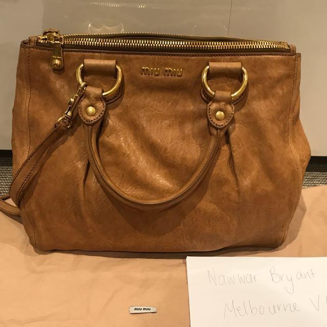 Authentic Miu Miu Brown Leather Handbag