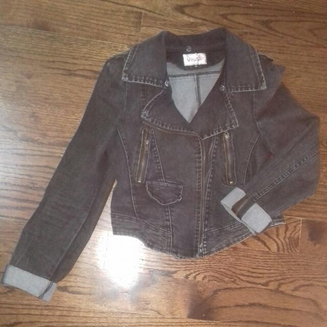 Black Biker Style Jean Jacket