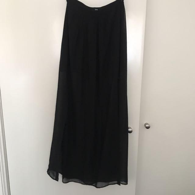 Black Maxi Long Skirt Sheer Cuts Slits