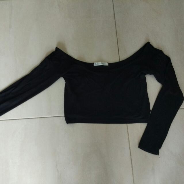 Black Sabrina Crop Top